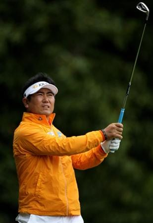 VIRGINIA WATER, ENGLAND - MAY 28:  Y.E. Yang of Korea tees off on the 2nd hole during the third round of the BMW PGA Championship at the Wentworth Club on May 28, 2011 in Virginia Water, England.  (Photo by Warren Little/Getty Images)