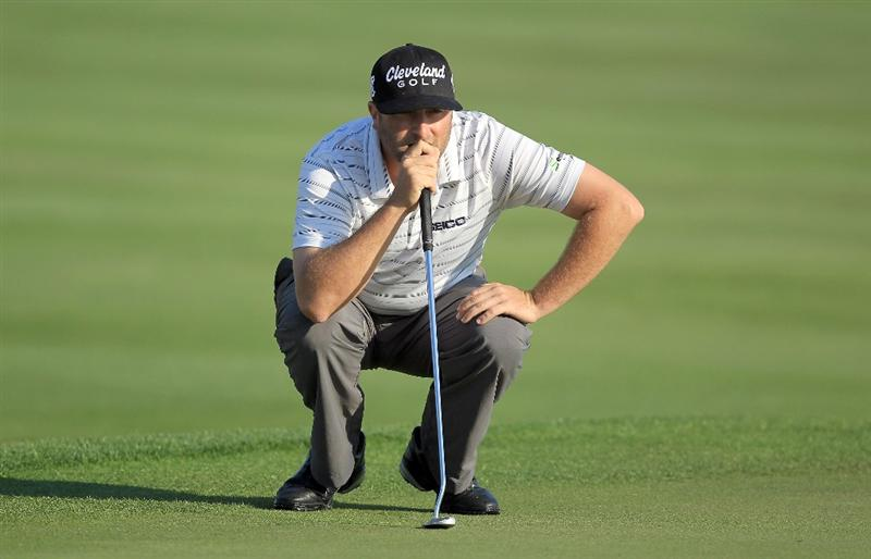 ORLANDO, FL - MARCH 25:  Steve Marino lines up a birdie putt at the 6th hole during the second round of the 2011 Arnold Palmer Invitational presented by Mastercard at the Bay Hill Lodge and Country Club on March 25, 2011 in Orlando, Florida.  (Photo by David Cannon/Getty Images)