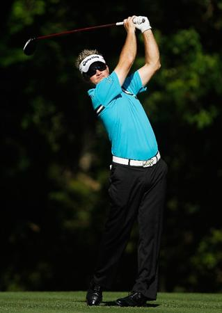 HILTON HEAD ISLAND, SC - APRIL 16:  Brian Gay hits his tee shot on the fifth hole during the second round of the Verizon Heritage at the Harbour Town Golf Links on April 16, 2010 in Hilton Head lsland, South Carolina.  (Photo by Scott Halleran/Getty Images)