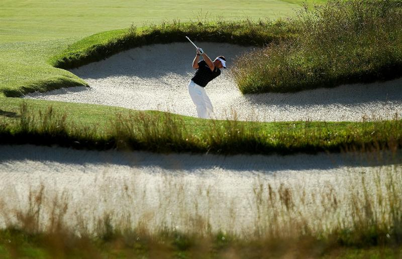 PEBBLE BEACH, CA - JUNE 16:  Alex Cejka of Germany hits from a bunker during a practice round prior to the start of the 110th U.S. Open at Pebble Beach Golf Links on June 16, 2010 in Pebble Beach, California.  (Photo by Andrew Redington/Getty Images)
