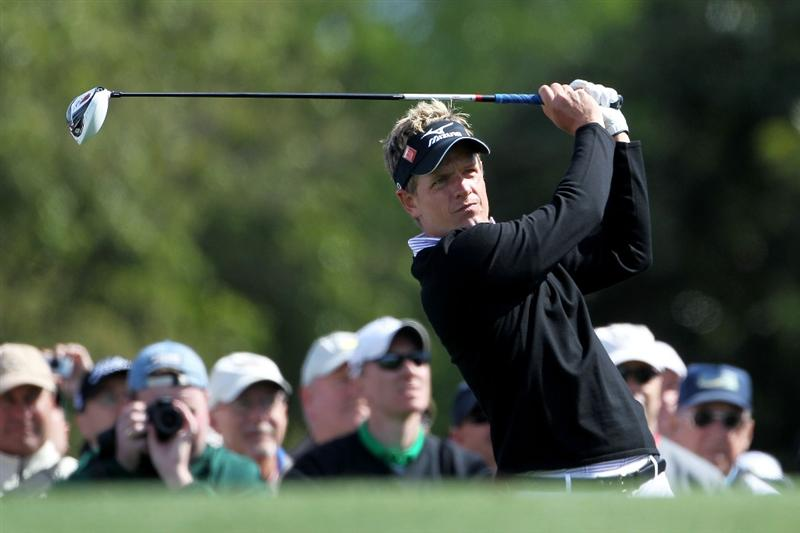 AUGUSTA, GA - APRIL 05:  Luke Donald of England hits a shot during a practice round prior to the 2011 Masters Tournament at Augusta National Golf Club on April 5, 2011 in Augusta, Georgia.  (Photo by Jamie Squire/Getty Images)
