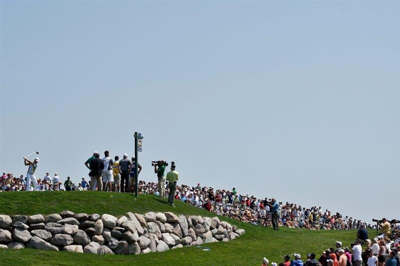 CHASKA, MN - AUGUST 14:  Camilo Villegas of Colombia hits his tee shot on the first hole during the second round of the 91st PGA Championship at Hazeltine National Golf Club on August 14, 2009 in Chaska, Minnesota.  (Photo by Jamie Squire/Getty Images)