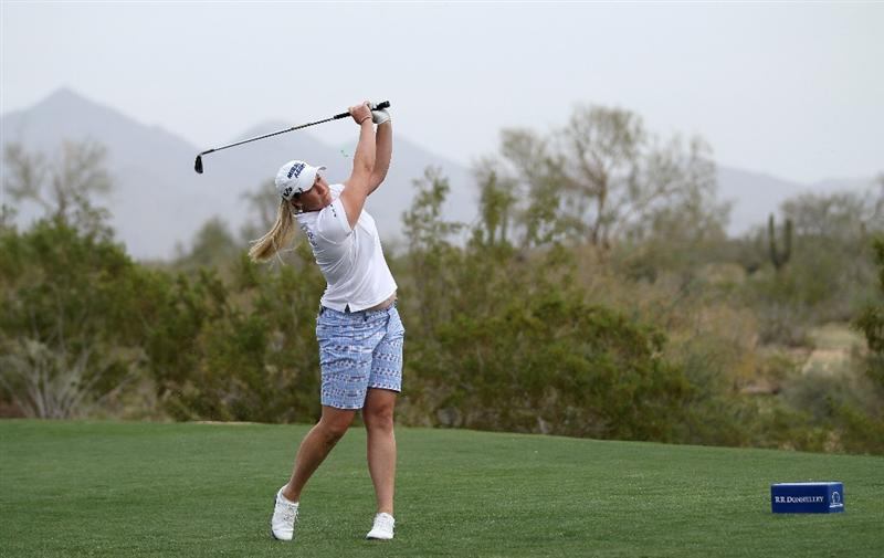 PHOENIX, AZ - MARCH 20:  Brittany Lincicome hits her tee shot on the 17th hole during the final round of the RR Donnelley LPGA Founders Cup at Wildfire Golf Club on March 20, 2011 in Phoenix, Arizona.  (Photo by Stephen Dunn/Getty Images)