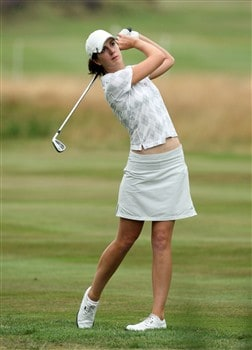 SUNNINGDALE, UNITED KINGDOM - JULY 31:  Sandra Gal of Germany hits her second shot at the 18th hole during the first round of the 2008  Ricoh Women's British Open Championship held on the Old Course at Sunningdale Golf Club, on July 31, 2008 in Sunningdale, England.  (Photo by David Cannon/Getty Images)