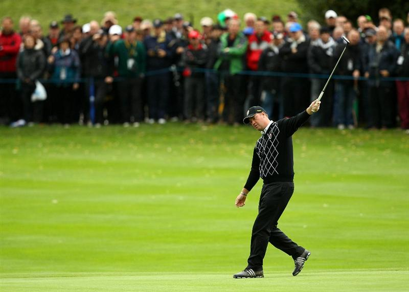 NEWPORT, WALES - OCTOBER 03:  Peter Hanson of Europe reacts to his putt on the 13th green during the  Fourball & Foursome Matches during the 2010 Ryder Cup at the Celtic Manor Resort on October 3, 2010 in Newport, Wales.  (Photo by Richard Heathcote/Getty Images)