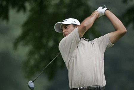 Arjun Atwal tees off on #2 in the fourth round the 2005 B.C. Open at En-Joi Golf Club in Endicott, New York. Sunday, July 17 2005.Photo by Chris Condon/PGA TOUR/WireImage.com