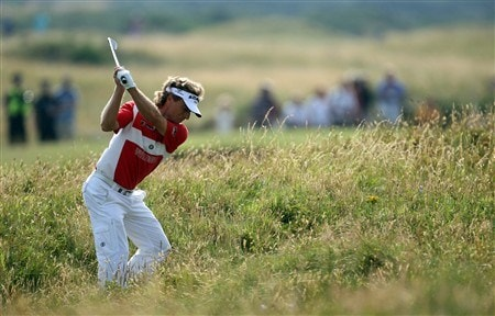 TROON, UNITED KINGDOM - JULY 25:  Bernhard Langer of Germany on the par five 4th hole during the second round of the Senior Open Championships at Royal Troon on July 25,2008 in Troon,Scotland.  (Photo by Ross Kinnaird/Getty Images)