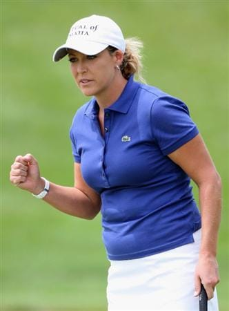 SPRINGFIELD, IL - JUNE 06:  Cristie Kerr celebrates after making an eagle putt on the first hole green during the third round of the LPGA State Farm Classic golf tournament at Panther Creek Country Club on June 6, 2009 in Springfield, Illinois.  (Photo by Christian Petersen/Getty Images)