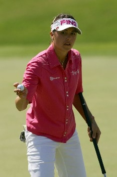 KAPOLEI, HI - FEBRUARY 24:  Stacy Prammanasudh reacts to her birdie on the second hole during the third round of the Fields Open at Ko Olina Golf Club on February 24, 2007 in Kapolei, Hawaii.  (Photo by Harry How/Getty Images)