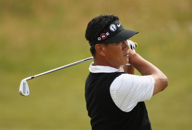 TURNBERRY, SCOTLAND - JULY 16:  KJ Choi of Korea hits an approach shot during round one of the 138th Open Championship on the Ailsa Course, Turnberry Golf Club on July 16, 2009 in Turnberry, Scotland.  (Photo by Warren Little/Getty Images)