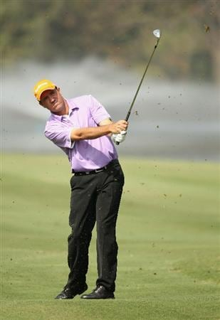 NEW DELHI, INDIA - FEBRUARY 17:  Scott Hend of Australia in action during the first round of the Avantha Masters held at The DLF Golf and Country Club  on February 17, 2011 in New Delhi, India.  (Photo by Ian Walton/Getty Images)