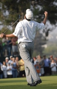 Loren Roberts reacts after missing a birdie putt on the second playoff hole during his playoff loss to Tom Purtzer in the final round of the Champion's Tour 2007 AT&T Champions Classic at the Valencia Country Club in Santa Clarita, California on March 18, 2007. Champions Tour - 2007 AT&T Champions Classic - Final RoundPhoto by Steve Grayson/WireImage.com