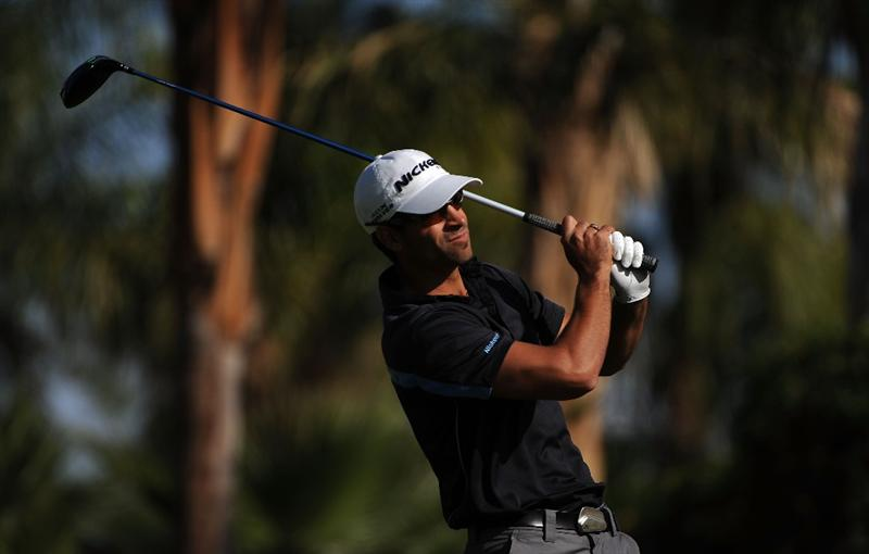 LA QUINTA, CA - DECEMBER 8: James Nitties makes a tee shot during the final round of the 2008 PGA Tour Qualifying Tournament on December 8, 2008 at the PGA West Golf Club in La Quinta, California.  (Photo by Robert Laberge/Getty Images)