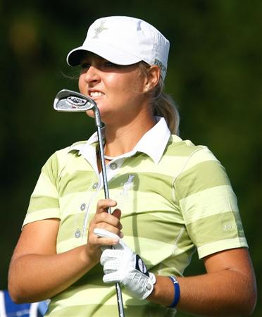 SUGAR GROVE, IL - AUGUST 22:  Anna Nordqvist of the European Team watches her tee shot on the third hole during the saturday morning fourball matches at the 2009 Solheim Cup at Rich Harvest Farms on August 22, 2009 in Sugar Grove, Illinois.  (Photo by Scott Halleran/Getty Images)