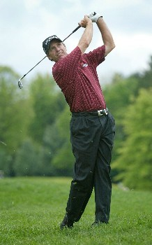 Jerry Pate hits his entry shot into the 13th green during the final round of The 66th Senior PGA Championship at Laurel Valley CC, Ligonier, Pa. , May 29th, 2005Photo by Hunter Martin/WireImage.com