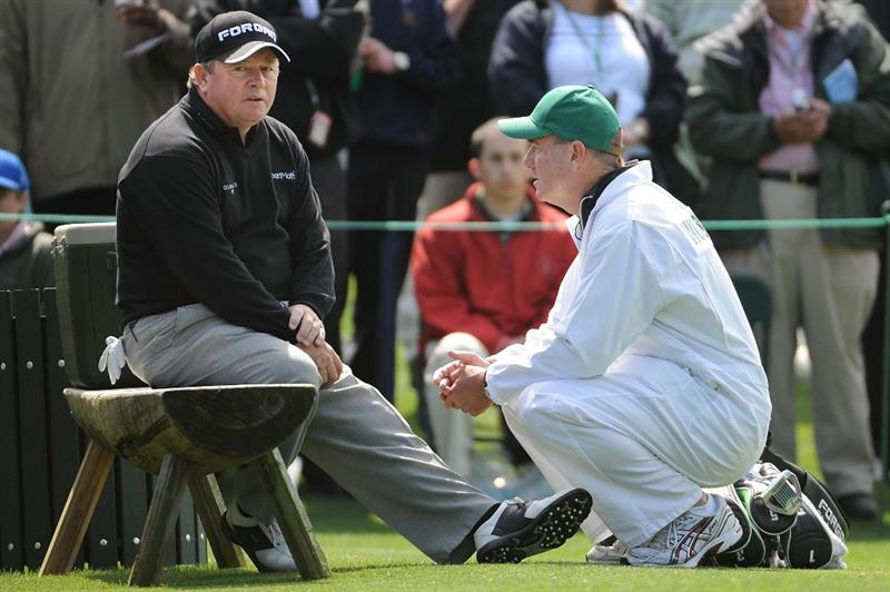 AUGUSTA, GA - APRIL 06:  Ian Woosnam of Wales chats with his caddie during a practice round prior to the 2009 Masters Tournament at Augusta National Golf Club on April 6, 2009 in Augusta, Georgia.  (Photo by Harry How/Getty Images)