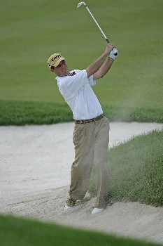Jonathan Kaye hits from the fairway bunker on #18 in the third round of the Memorial Tournament at Muirfield Village Golf Club - Dublin, Ohio. Saturday, June 4, 2005Photo by Chris Condon/PGA TOUR/WireImage.com
