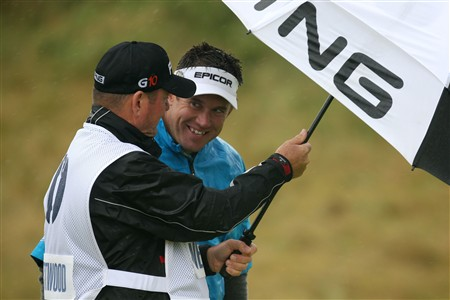 SOUTHPORT, UNITED KINGDOM - JULY 17:  Lee Westwood of England chats with caddy Alastair McLean during the First Round of the 137th Open Championship on July 17, 2008 at Royal Birkdale Golf Club, Southport, England.  (Photo by Ross Kinnaird/Getty Images)