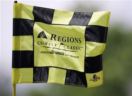 BIRMINGHAM, AL - MAY 18:  The flag on the 18th green flutters in the wind during the final round of the Regions Charity Classic at the Ross Bridge Golf Resort on May 18, 2008 in Birmingham, Alabama. (Photo by Dave Martin/Getty Images)