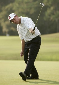 Joe Durant reacts to a birdie on the 16th hole during the fourth and final round of the 2006 FUNAI Classic at WALT DISNEY WORLD Resort on the Magnolia Course in Lake Buena Vista, Florida, on October 22, 2006. PGA TOUR - 2006 FUNAI Classic at the WALT DISNEY WORLD Resort - Final RoundPhoto by Sam Greenwood/WireImage.com