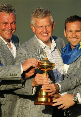 NEWPORT, WALES - OCTOBER 04:  European Team Captain Colin Montgomerie (C) poses with the Ryder Cup and his vice captains (L-R) Darren Clarke and Sergio Garcia following Europe's 14.5 to 13.5 victory over the USA at the 2010 Ryder Cup at the Celtic Manor Resort on October 4, 2010 in Newport, Wales.  (Photo by Andy Lyons/Getty Images)