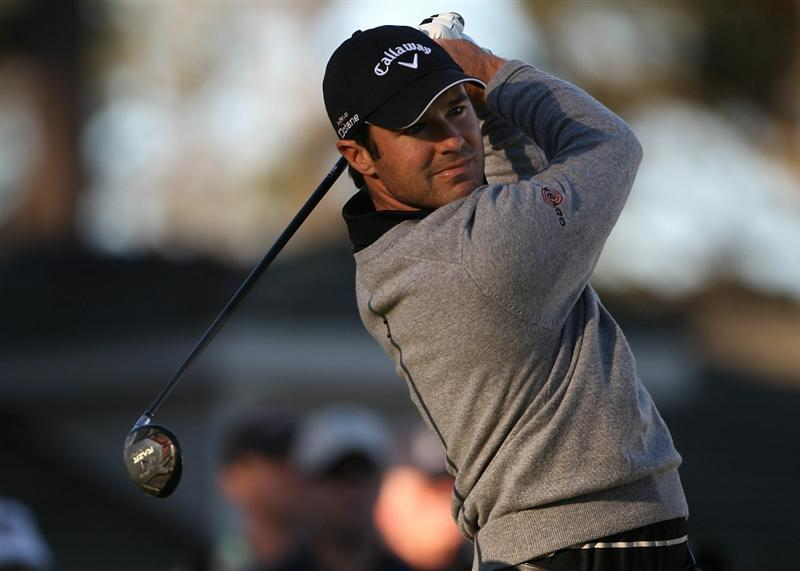 PEBBLE BEACH, CA - FEBRUARY 11:  Trevor Immelman of South Africa hits from the 10th tee at the AT&T Pebble Beach National Pro-Am- Round Two at the Spyglass golf club on February 11, 2011 in Pebble Beach, California.  (Photo by Jed Jacobsohn/Getty Images)