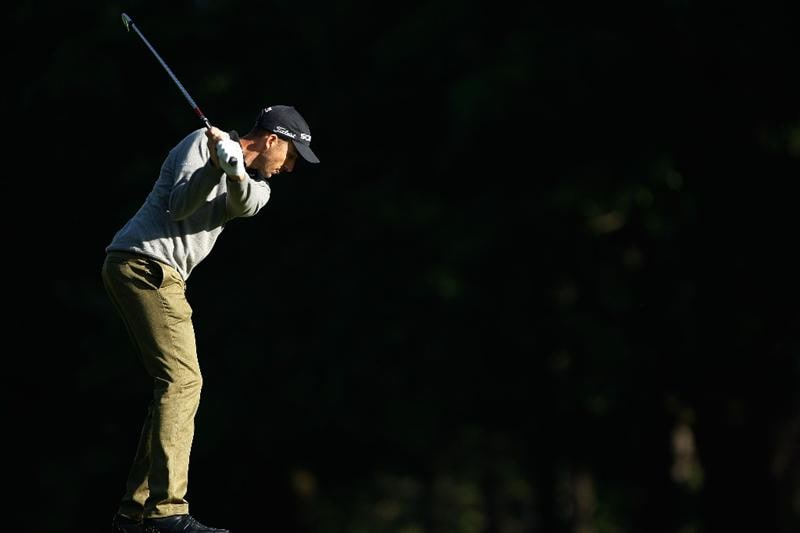 CHARLOTTE, NC - APRIL 29:  Geoff Ogilvy of Australia hits his approach shot on the fourth hole during the first round of the 2010 Quail Hollow Championship at the Quail Hollow Club on April 29, 2010 in Charlotte, North Carolina.  (Photo by Scott Halleran/Getty Images)