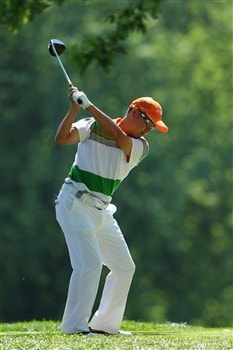 BLOOMFIELD HILLS, MI - AUGUST 06: Tori Taniguchi of Japan hits a shot during a practice round prior to the 90th PGA Championship at Oakland Hills Country Club on August 6, 2008 in Bloomfield Township, Michigan.  (Photo by Stuart Franklin/Getty Images)