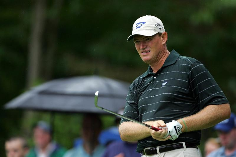 NORTON, MA - SEPTEMBER 03:  Ernie Els of South Africa hits a shot on the eighth hole during the first round of the Deutsche Bank Championship at TPC Boston on September 3, 2010 in Norton, Massachusetts.  (Photo by Michael Cohen/Getty Images)