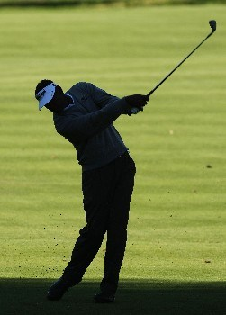PACIFIC PALISADES, CA - FEBRUARY 15: Vijay Singh of Fiji hits from the shadows on the eighth fairway during the second round of the Northern Trust Open on February 15, 2008 at Riviera Country Club in Pacific Palisades. California.  (Photo by Stephen Dunn/Getty Images)