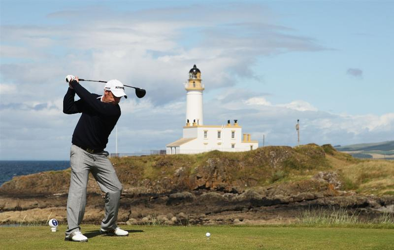 TURNBERRY, SCOTLAND - JULY 19:  Paul McGinley of Ireland tees off on the 9th hole during the final round of the 138th Open Championship on the Ailsa Course, Turnberry Golf Club on July 19, 2009 in Turnberry, Scotland.  (Photo by Warren Little/Getty Images)