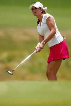MORELIA, MEXICO - APRIL 28:  Erica Blasberg of the United States putts on the third green during the third round of the Corona Championship April 28, 2007 at Tres Marias Club de Golf in Morelia, Michoacan, Mexico.  (Photo by Matthew Stockman/Getty Images)