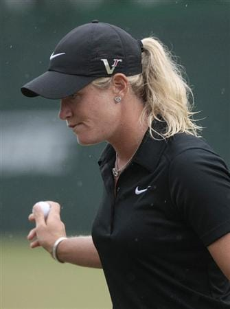 MOBILE, AL - MAY 16: Suzann Pettersen of Norway reacts after making a bogie on the 18th hole during a sudden death playoff against Se Ri Pak and Brittany Lincicome in the Bell Micro LPGA Classic at the Magnolia Grove Golf Course on May 16, 2010 in Mobile, Alabama. (Photo by Dave Martin/Getty Images)