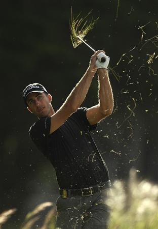 MELBOURNE, AUSTRALIA - NOVEMBER 10:  Geoff Ogilvy of Australia plays a shot during the Pro-Am ahead of the Australian Masters at The Victoria Golf Club on November 10, 2010 in Melbourne, Australia.  (Photo by Lucas Dawson/Getty Images)
