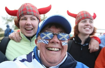 HALMSTAD, SWEDEN - SEPTEMBER 15:  Golf fans wait on the first tee after play was suspended for dangerous weather conditions during the morning foursome matches of the Solheim Cup at on September 15, 2007 in Halmstad, Sweden.  (Photo by Scott Halleran/Getty Images)