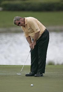 Fuzzy Zoeller during the first round of the ACE Group Classic held at the TwinEagles GC in Naples, Florida on February 17, 2006.Photo by Sam Greenwood/WireImage.com