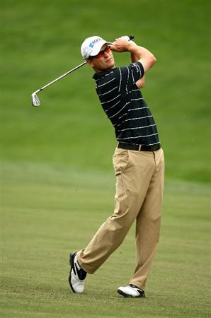 CHARLOTTE, NC - MAY 01:  Zach Johnson of the USA plays into the 18th green during the second round of the Quail Hollow Championship at Quail Hollow Club on May 1, 2009 in Charlotte, North Carolina.  (Photo by Richard Heathcote/Getty Images)
