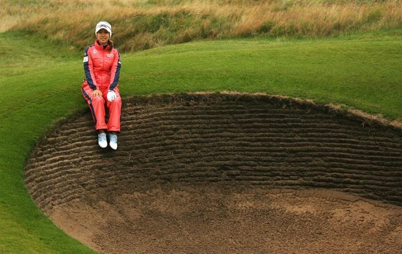 LYTHAM ST ANNES, ENGLAND - JULY 29:  Momoko Ueda of Japan poses for a picture by the fairway bunker on the 15thduring practice prior to the 2009 Ricoh Women's British Open Championship held at Royal Lytham St Annes Golf Club, on July 29, 2009 in Lytham St Annes, England.  (Photo by Warren Little/Getty Images)