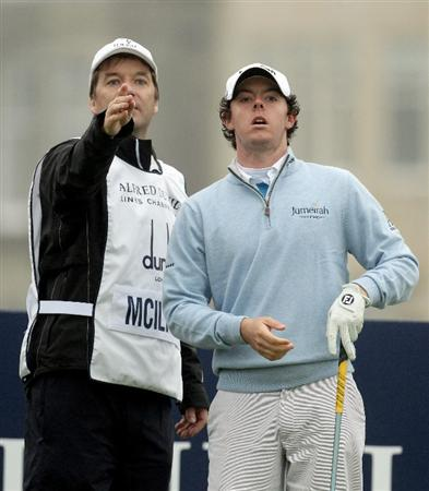 ST ANDREWS, SCOTLAND - OCTOBER 08:  Rory McIlroy of Northern Ireland with his caddie on the second tee during the second round of The Alfred Dunhill Links Championship at The Old Course on October 8, 2010 in St Andrews, Scotland.  (Photo by Ross Kinnaird/Getty Images)
