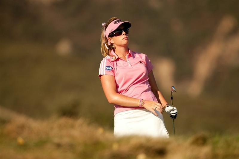 DANVILLE, CA - OCTOBER 14: Paula Creamer watches a tee shot during the first round of the CVS/Pharmacy LPGA Challenge at Blackhawk Country Club on October 14, 2010 in Danville, California. (Photo by Darren Carroll/Getty Images)