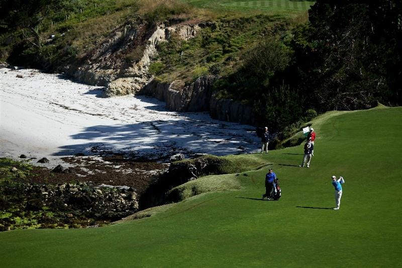 PEBBLE BEACH, CA - JUNE 16:  Paul Casey of England hits a shot during a practice round prior to the start of the 110th U.S. Open at Pebble Beach Golf Links on June 16, 2010 in Pebble Beach, California.  (Photo by Ross Kinnaird/Getty Images)
