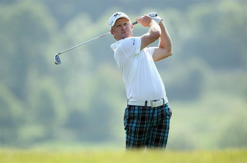 NEWPORT, WALES - JUNE 04:  Jamie Donaldson of Wales plays his second shot on the 16th hole during the second round of the Celtic Manor Wales Open on The Twenty Ten Course at The Celtic Manor Resort on June 4, 2010 in Newport, Wales.  (Photo by Andrew Redington/Getty Images)