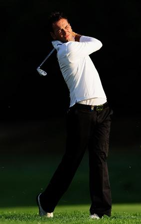 COLOGNE, GERMANY - SEPTEMBER 09:  Nick Dougherty of England plays his approach shot during the pro - am prior to The Mercedes-Benz Championship at The Gut Larchenhof Golf Club on September 9, 2009 in Pulheim, near Cologne, Germany.  (Photo by Stuart Franklin/Getty Images)