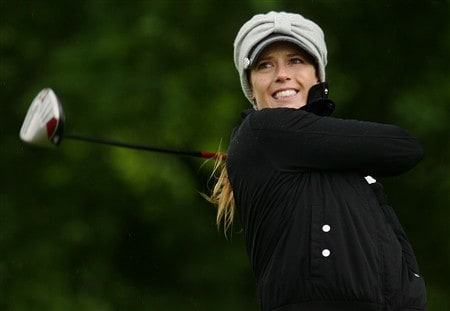 CORNING, NY - MAY 22:   Anna Rawson of Australia hits her tee shot on the 18th hole during the first round of the LPGA Corning Classic at Corning Country Club on May 22, 2008 in Corning, NY.  (Photo by Kyle Auclair/Getty Images)