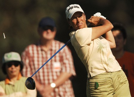 Sherri Steinhauer in action during the second round of the LPGA's 2005 Kraft Nabisco Championship, at Mission Hills Country Club in Rancho Mirage, California March 25, 2005.