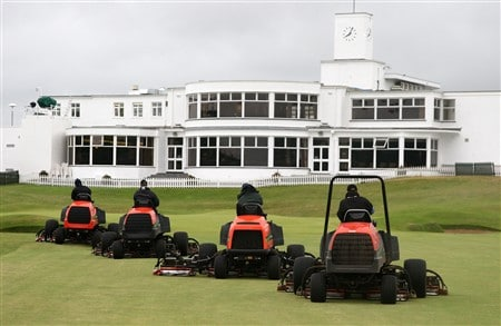 SOUTHPORT, UNITED KINGDOM - JULY 19:  Greenkeepers prepare the course prior to the third round of the 137th Open Championship on July 19, 2008 at Royal Birkdale Golf Club, Southport, England.  (Photo by David Cannon/Getty Images)