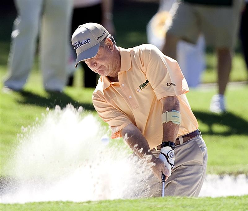 THE WOODLANDS, TX - OCTOBER 18:  Jay Haas hits out of the bunker on the first hole during the final round of the Administaff Small Business Classic at The Woodlands Country Club Tournament Course on October 18, 2009 in The Woodlands, Texas.  (Photo by Bob Levey/Getty Images)