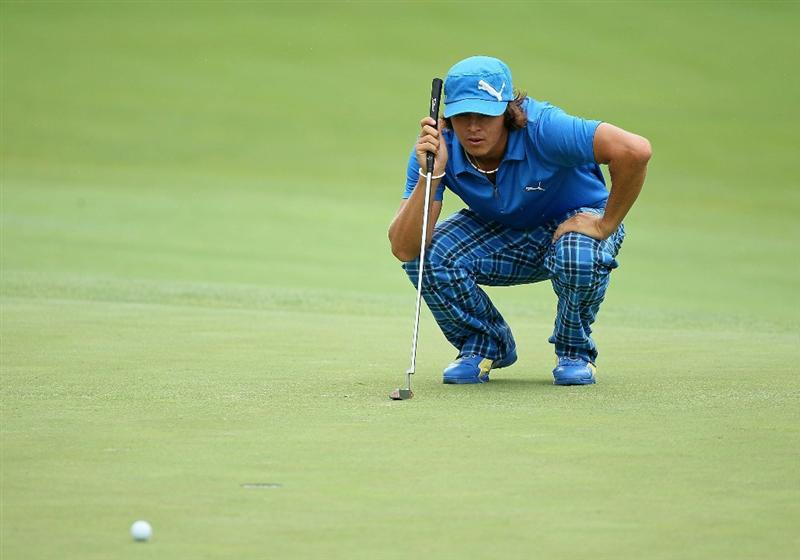 DUBLIN, OH - JUNE 05:  Rickie Fowler lines up his birdie putt on the first hole during the third round of The Memorial Tournament presented by Morgan Stanley at Muirfield Village Golf Club on June 5, 2010 in Dublin, Ohio.  (Photo by Andy Lyons/Getty Images)