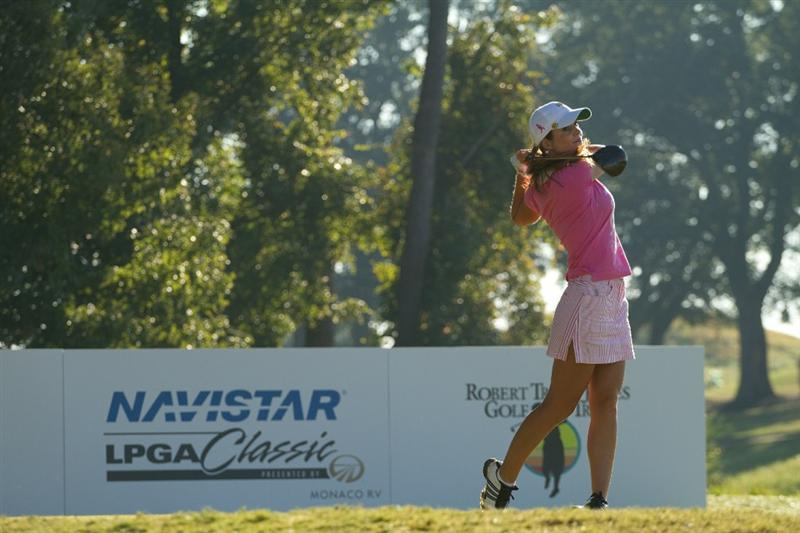 PRATTVILLE, AL - OCTOBER 8: Beatriz Recari of Spain follows through on a tee shot during the second round of the Navistar LPGA Classic at the Senator Course at the Robert Trent Jones Golf Trail  on October 8, 2010 in Prattville, Alabama. (Photo by Darren Carroll/Getty Images)