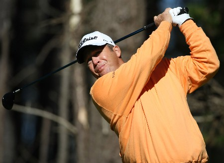 PEBBLE BEACH, CA - FEBRUARY 08: Dudley Hart hits a shot during the second round of the At&T Pebble Beach National Pro-Am at Poppy Hills Golf Links on February 8, 2008 in Pebble Beach, California.  (Photo by Jed Jacobsohn/Getty Images)